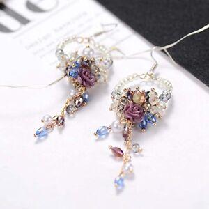 Eegant Women Crystal Flower Tassel Earrings Stud Dangle Drop Fringed Hook Gifts