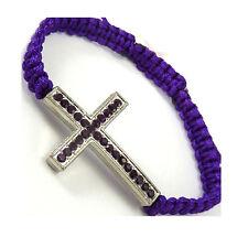 Sideways Cross Crucifix Bracelet Crystal Metal Purple Cord Friendship - WB44pu