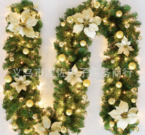 Stuning Christmas Garland Decoration fireplace Gold with lights