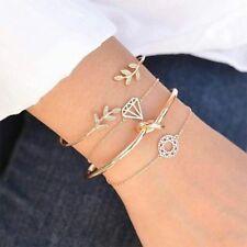 4Pcs/Set Women Jewelry Gift Leaves Chain Knot Adjustable Opening Bangle Bracelet