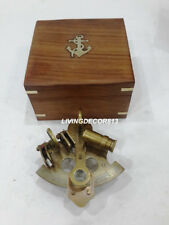 Maritime  Nautical Handmade Antique Brass Sextant With Wooden Box Office Decor