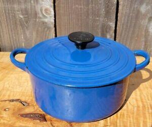 VTG Le Creuset 'B' 2-Quart Dutch Oven Blue Enamel Cast Iron France