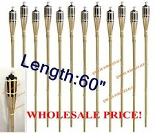 "18 Pcs 60"" New White Bamboo Tiki Torches Yard Party Garden Lamp Mosquito Metal"