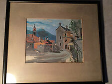 """Nice J Edwards 1957 """"Street And Shop Scene"""" Watercolor - Signed And Framed"""