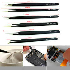 6xProfessional Coated Precision Tweezers Kit Stainless Steel Non-Magnetic Craft