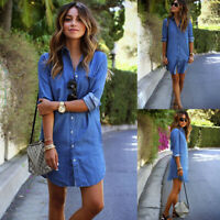US Women's Blue Jeans Denim T-Shirt Long Sleeve Casual Loose Shirt Mini Dress