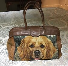 ISABELLA FIORE Needlepoint Golden Retriever Dog Brown Leather & Suede Bag Purse