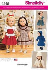 Simplicidad patrón de costura Vintage años 40 18 pulgadas muñeca ropa 1245 un