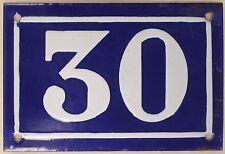 Old blue French house number 30 door gate plate plaque enamel metal sign c1950