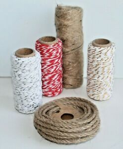 CHRISTMAS Hessian Jute / Coloured Striped Gift String Cord Twine Colour Choices