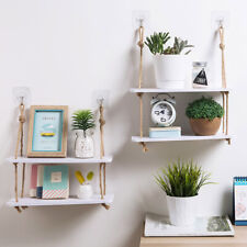 Wall Hanging Hemp Rope 2-Layer Partition Board Rack Shelves Holder Home Ornament