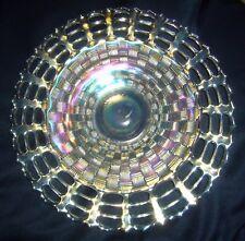 "ANTIQUE FENTON VERY SCARCE OPEN EDGE 3 ROW WHITE CARNIVAL GLASS 9"" PLATE"