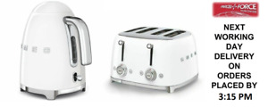 SMEG Retro White Kettle & 4 Slot 4 Slice Toaster - KLF03WHUK & TSF03WHUK (New)
