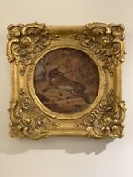 Fine Victorian Original Oil Painting Sunbathing Hare Gorgeous Old Gold Frame