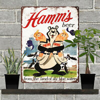 "Hamms Beer Bear Twins Metal Sign Ad Repro 9x12"" 60259"