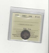 1887 , ICCS Graded Canadian,  10  Cent, **F-12**