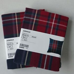 Brand New IKEA 'JUNHILD' Pair Cotton Red/Blue/Green Tartan Cushion Cover 50x50cm