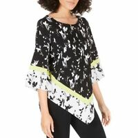 ALFANI NEW Women's Printed Asymmetrical-hem Blouse Shirt Top TEDO