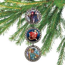 Disney Descendants MAL EVIE & UMA 3D Bottle Cap Christmas Ornament GLITTER #105