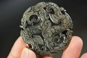 Delicate Chinese Natural Old Jade carved *Dragon* Amulet Pendant D17