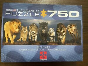 "Eurographics ""BIG CATS"" 750 Pieces Panoramic 12""X36"" Jigsaw Puzzle"