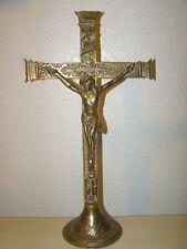 "16"" TALL BRASS CROSS WITH JESUS CRUCIFIX INRI"