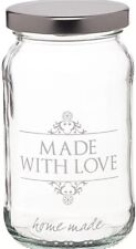 Kitchen Craft 3 X  1lb / 454ml Glass Jar Home Made 'Made With Love'