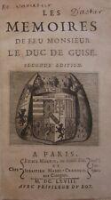 MEMOIRES de feu Monsieur DUC DE GUISE 1668 2è ED Martin et Mabre-Cramoisy RARE