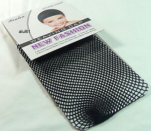 BLACK REAL HAIR ELASTIC WIG CAP FISHNET LINER WEAVING MESH STOCKING SLEEP NET