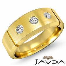 8mm Mens Half Wedding Band 3Stone Round Bezel Diamond Ring 14k Yellow Gold 0.3Ct