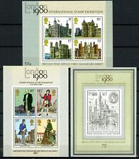Gb 1980 London Stamp Exhibition Set of 3 Miniature Sheets Sg: 834a 874a 909a Mnh