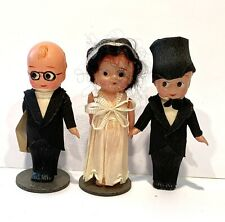 3 Antique Celluloid Wedding Cake Figurines  Bride Groom Minister C.A. Reed Co.
