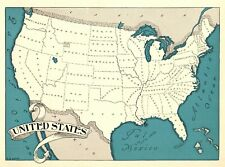 1930s Antique UNITED STATES Map RARE Map of The United States BLU 7610