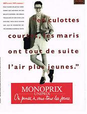 PUBLICITE ADVERTISING 025  1990  MONOPRIX UNIPRIX  short & veste homme