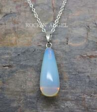 925 Silver Natural Sea Opal / Opalite Droplet Necklace Pendant Reiki Healing