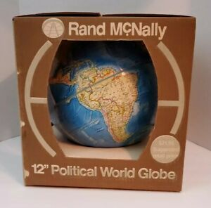Rand McNally Political Globe 12 inch diameter Made USA Raised Relief Metal Stand