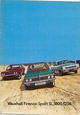 Vauxhall Firenza Sport SL 2300 1800 1256 1972 Original UK Sales Brochure V2117