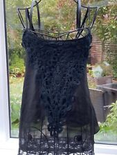 MissGuided Black Cami Top With Lace Crochet Detail Size 8