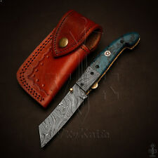 Handmade Damascus Steel Pocket Folding Knife Liner Lock Resin Handle VK2152