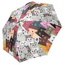 InterestPrint Cartoon Cute Cats Foldable Travel Rain Umbrella
