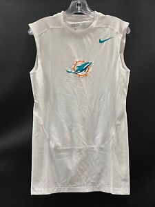 MIAMI DOLPHINS GAME USED DRI-FIT NO SLEEVE COMPRESSION SHIRT SIZE MEDIUM