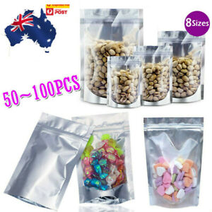 Clear Silver Resealable Stand Up Zipper Foil Mylar Bags Aluminum Packaging Pouch