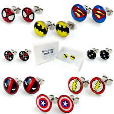 1 x PAIR SUPERHERO LOGO STUD EARRINGS + FREE GIFT BOX  & 1ST CLASS POST