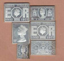 6 Silver Jubilee Queen Elizabeth Ii Silver Stamp Ingots In Near Mint Condition.