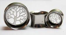 Tunnel EarPlug Saddle Double Flare Wicca Tree Of Life Silver Steel Earing Gauge