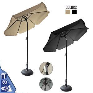 2.2M Aluminium Tilting Crank Round Parasol Umbrella With 11kg Concrete Base