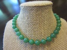 "Vintage Chinese Natural Aventurine Choker 15"" w/14k Stone Gold Unique Ball Clasp"