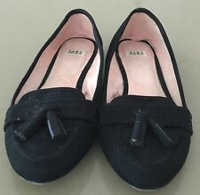 Must Haves ZARA TRAFALUC Black Suede Look Flats with Tassel Size 36