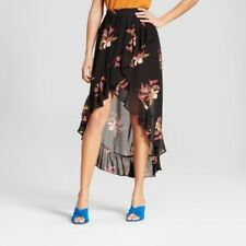 New Women's A New Day Floral Asymmetrical Ruffle Wrap Skirt Black Small