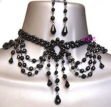 Chic Black Goth Vintage Moulin Burlesque Prom Masquerade Choker Necklace Earring